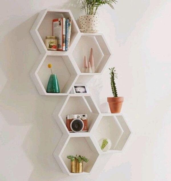 nicho colmeia hexagonal branco