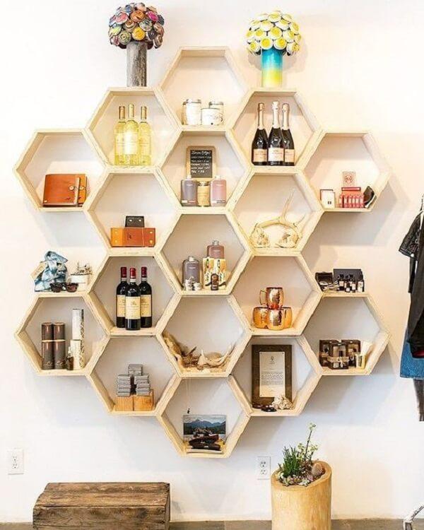 nicho colmeia hexagonal bar suspenso