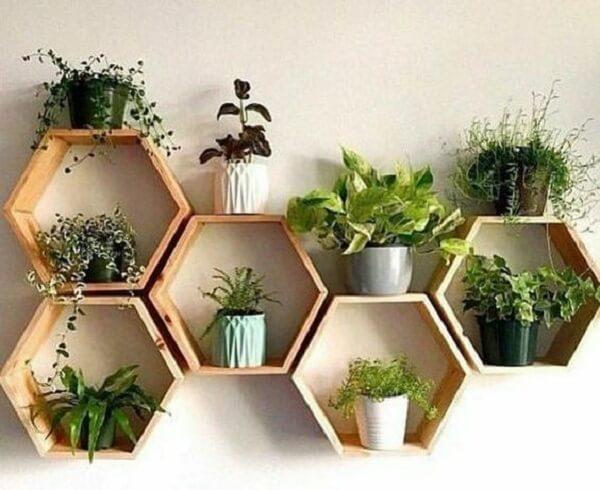nicho colmeia hexagonal madeira como jardim