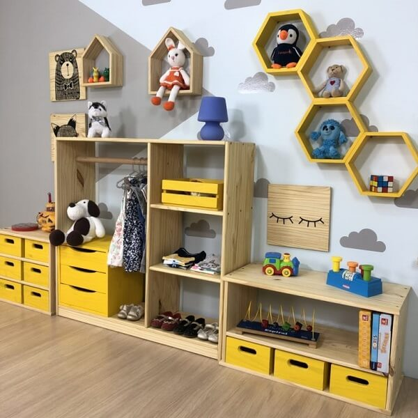 nicho colmeia quarto infantil colorido