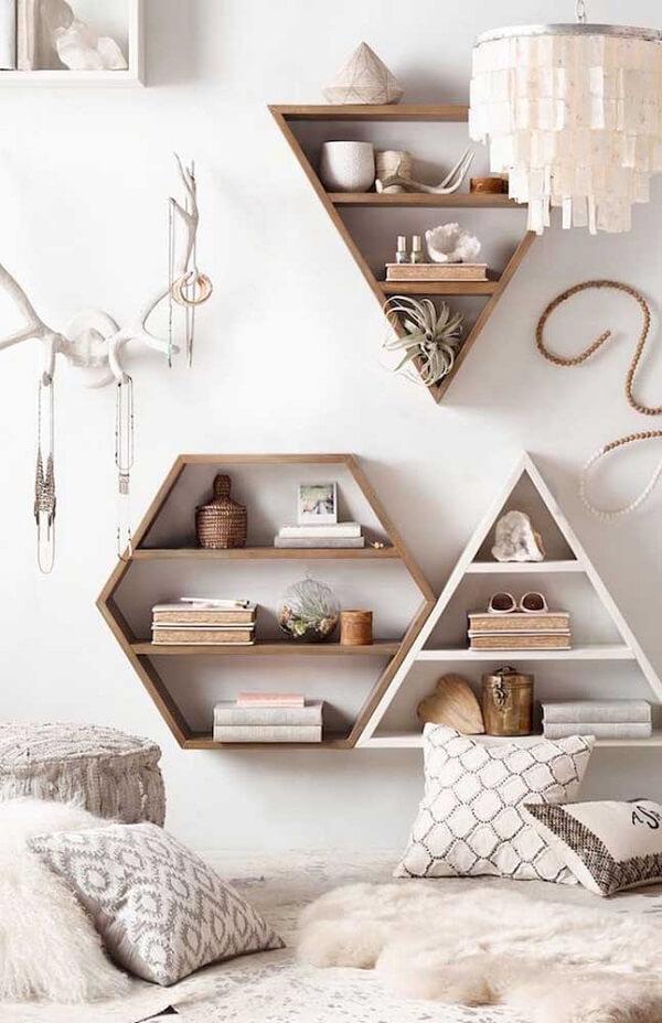 nicho colmeia hexagonal madeira