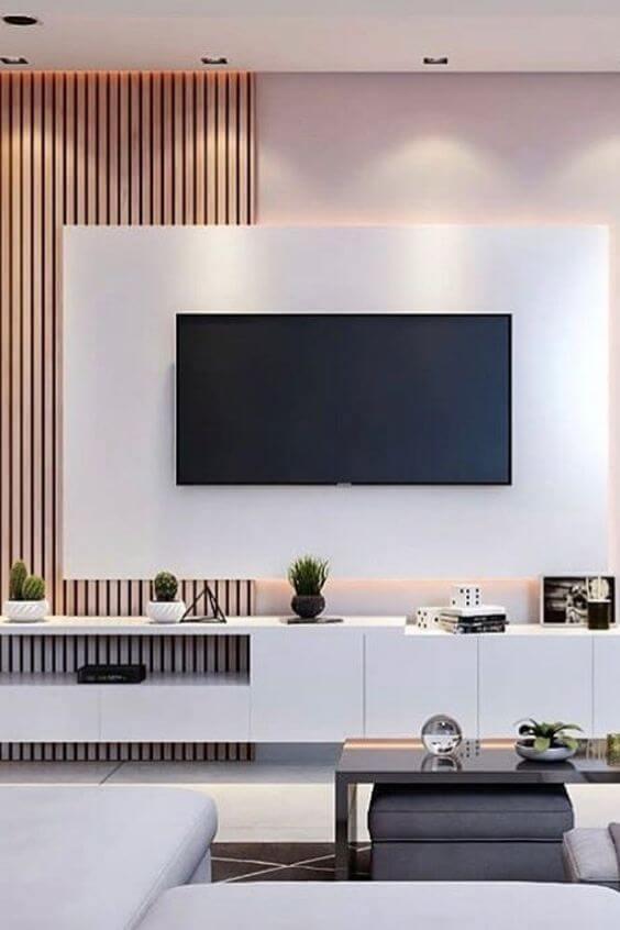 Painel para tv branco e madeira