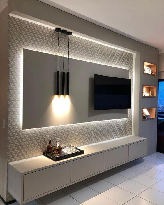 Painel para tv com led para quarto moderno