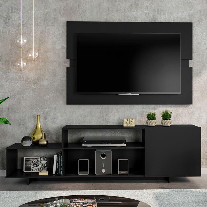 Painel para tv preto com rack combinando