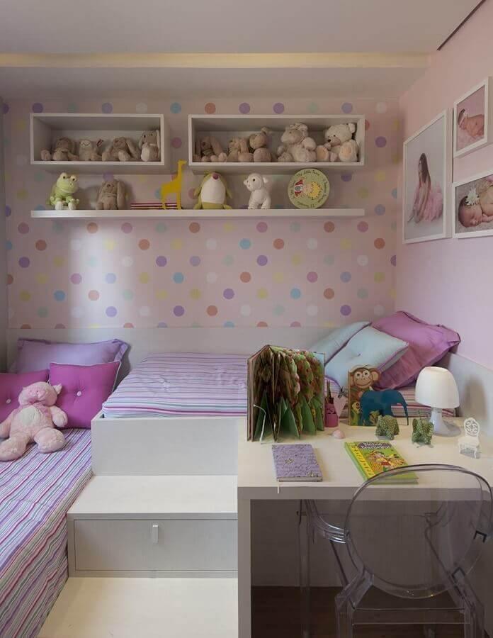 papel de parede colorido para decoração de quarto de menina planejado Foto Archidea