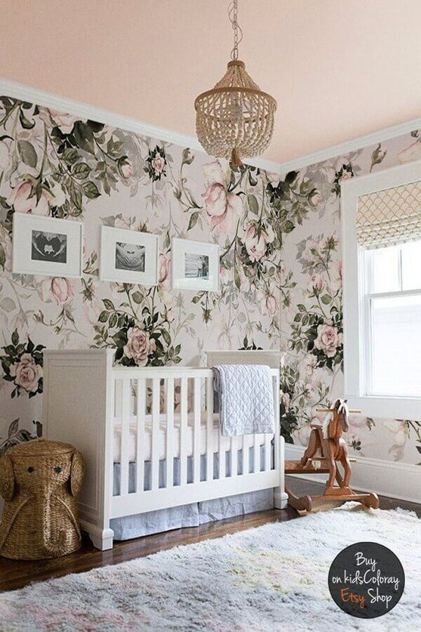 papel de parede com flores grandes para decoração de quarto de bebê rosa Foto Etsy