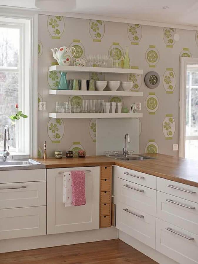papel de parede para cozinha com bancada de madeira Foto Ideias para Decorar
