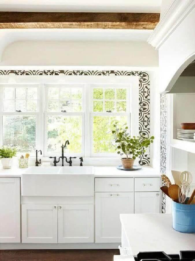 papel de parede para cozinha planejada toda branca Foto Ideias para Decorar