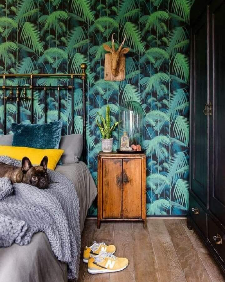 papel de parede para quarto com estampa de folhagens Foto Telas & Papel