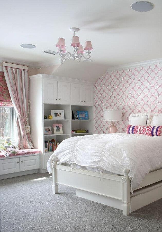 papel de parede para quarto de menina planejado branco e rosa Foto Durso Construction Management