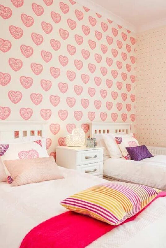 papel de parede para quarto de menina rosa com duas camas Foto Pinterest