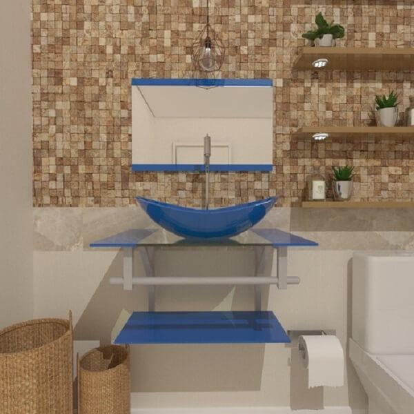 pia de banheiro de vidro azul temperado