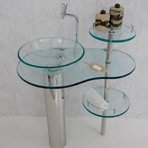 pia de banheiro de vidro com suportes