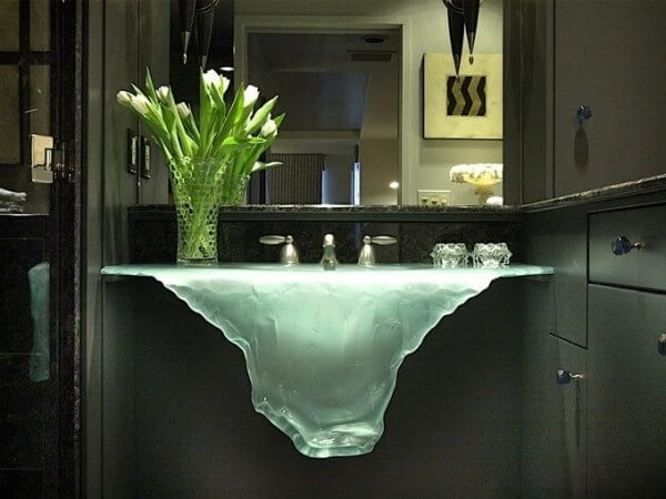 pia de banheiro de vidro cascata