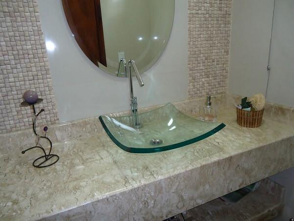 pia de banheiro de vidro cuba de apoio