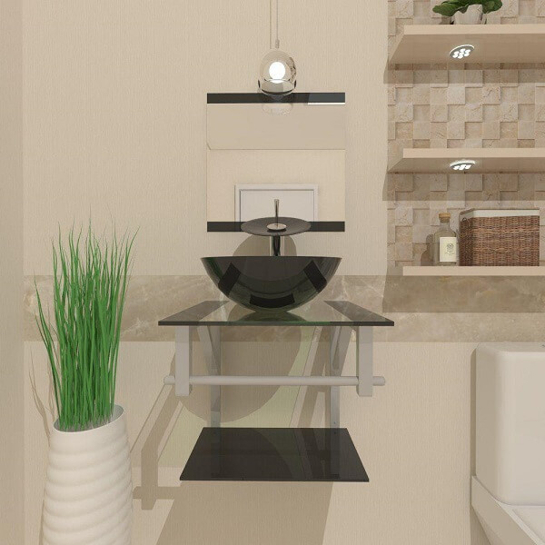 pia de banheiro de vidro de vidro preta