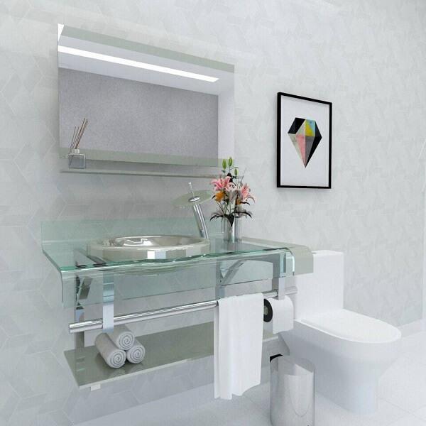 pia de banheiro de vidro decorada