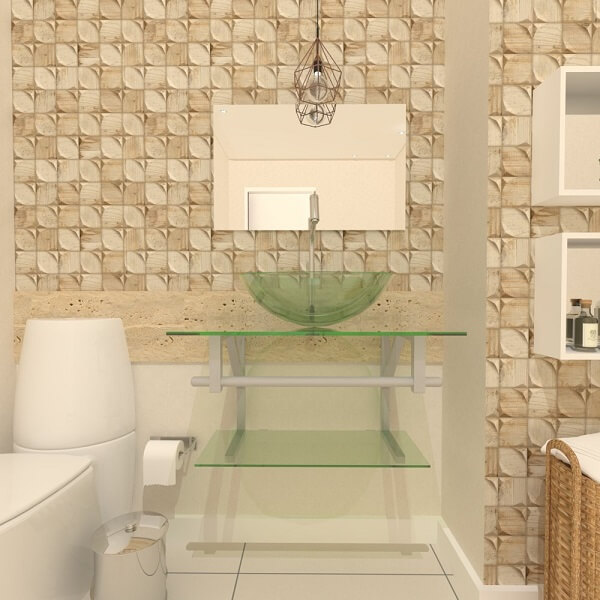 pia de banheiro de vidro e gabinete revestimento bege