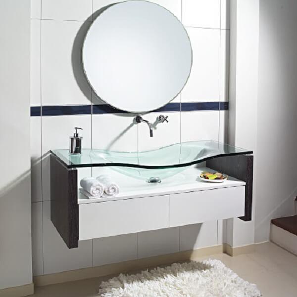 pia de banheiro de vidro borda infinita