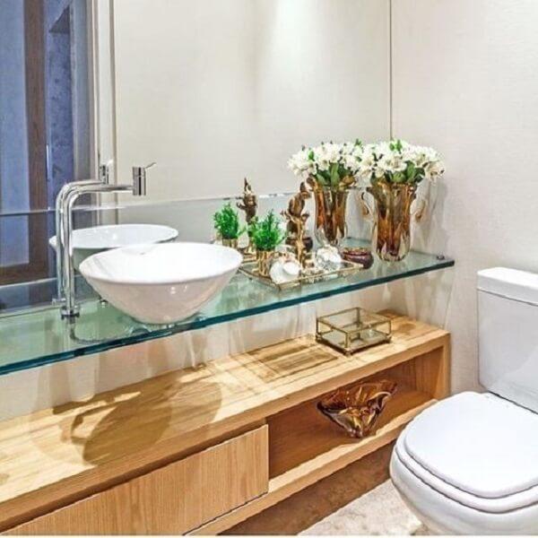 pia de banheiro de vidro gabinete