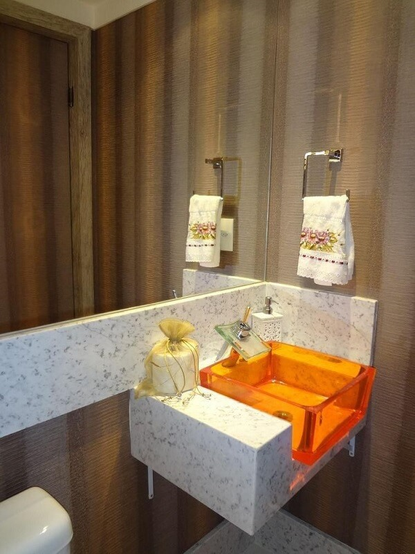 pia de banheiro de vidro laranja