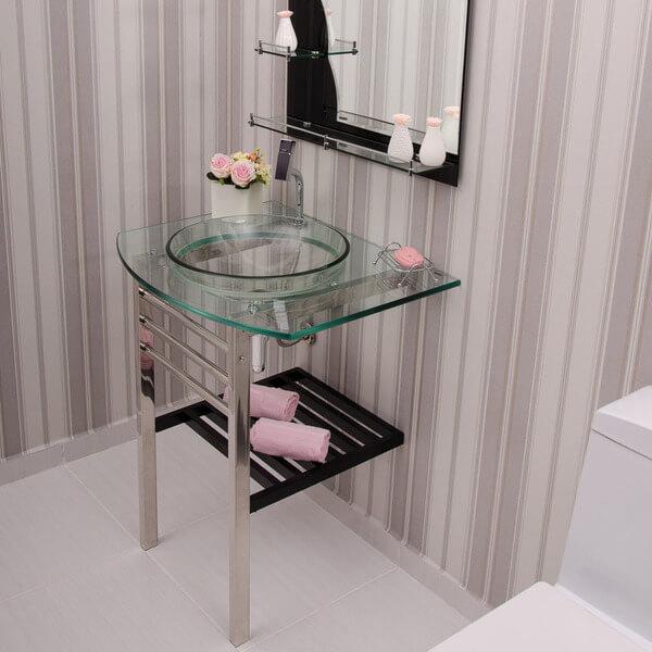 pia de banheiro de vidro toalha rosa