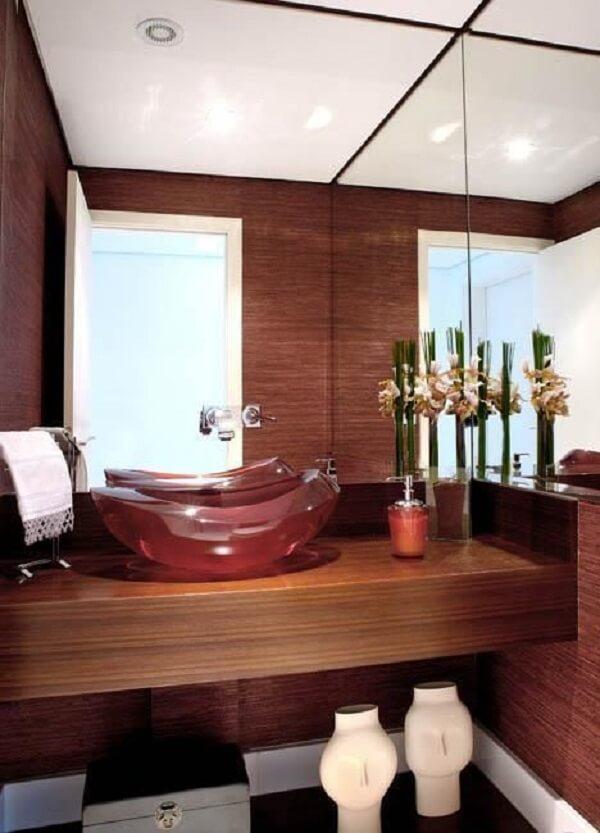 pia de banheiro de vidro vermelho
