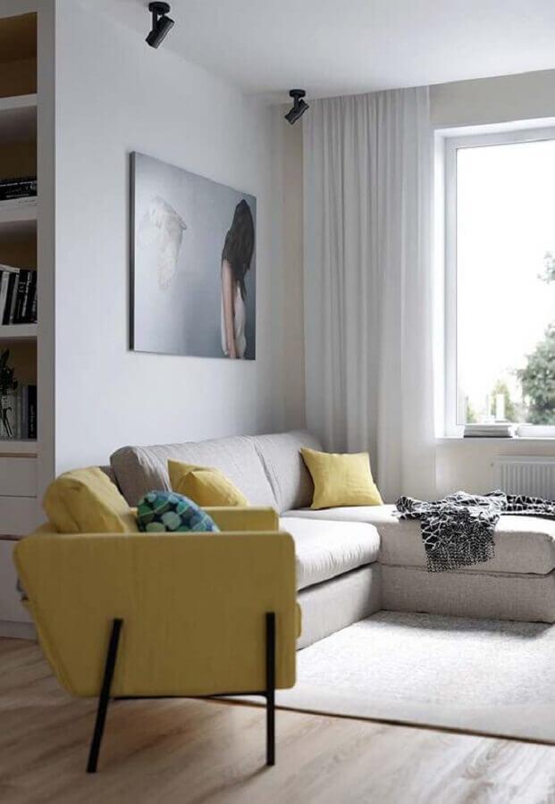 poltrona para sala amarela e branca Foto Ideia Decor