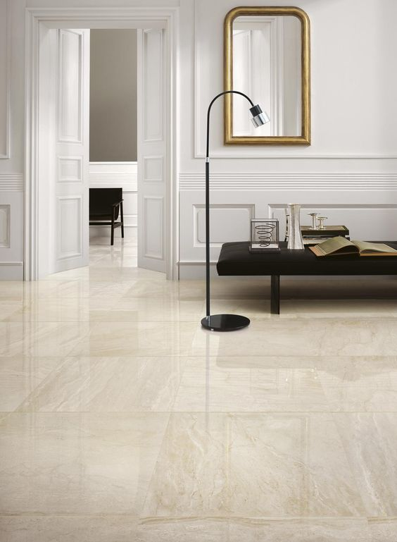 Porcelanato bege na sala de estar