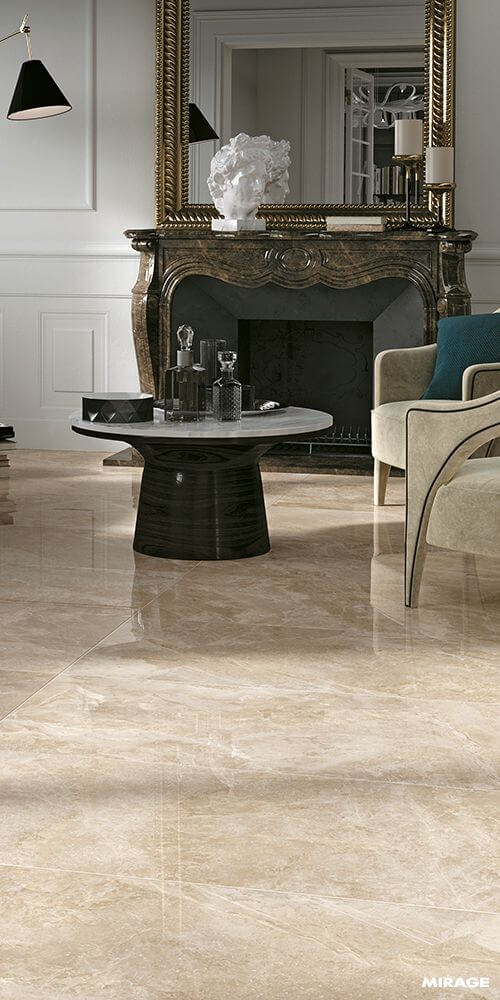 Porcelanato bege escuro na sala de estar