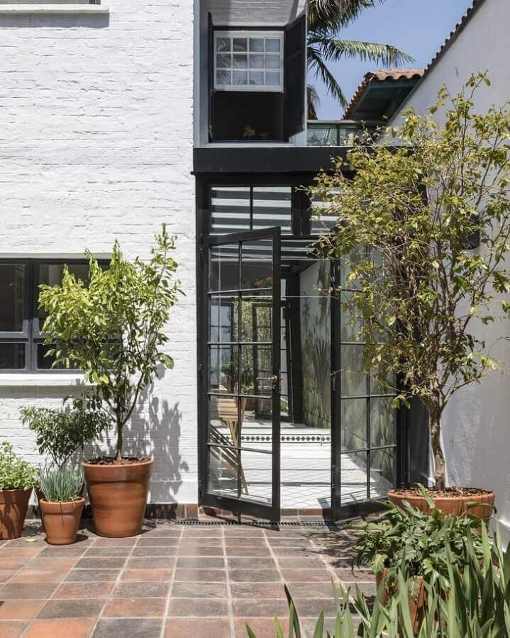 porta francesa de alumínio e vidro para área externa Foto In House