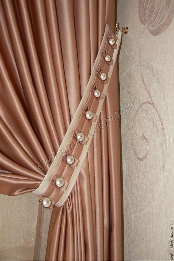 Prendedor de cortina de tecido com pérolas