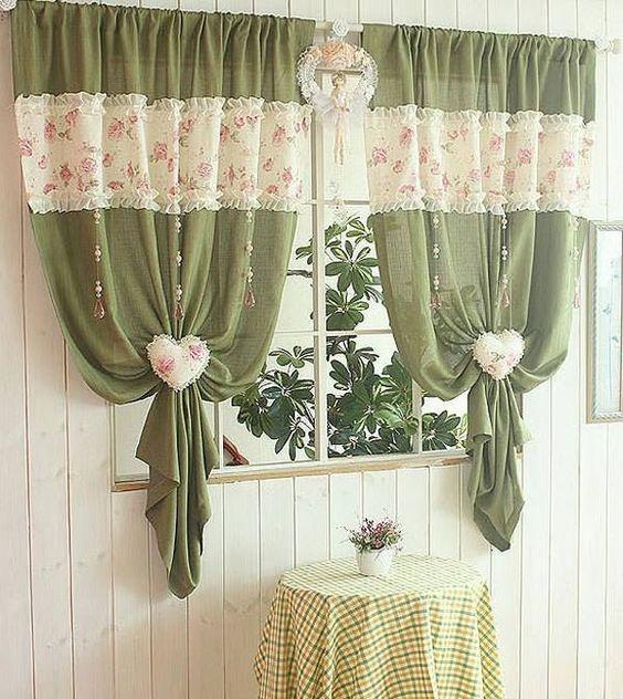 Prendedor de cortina na cozinha de tecido em formato de coração