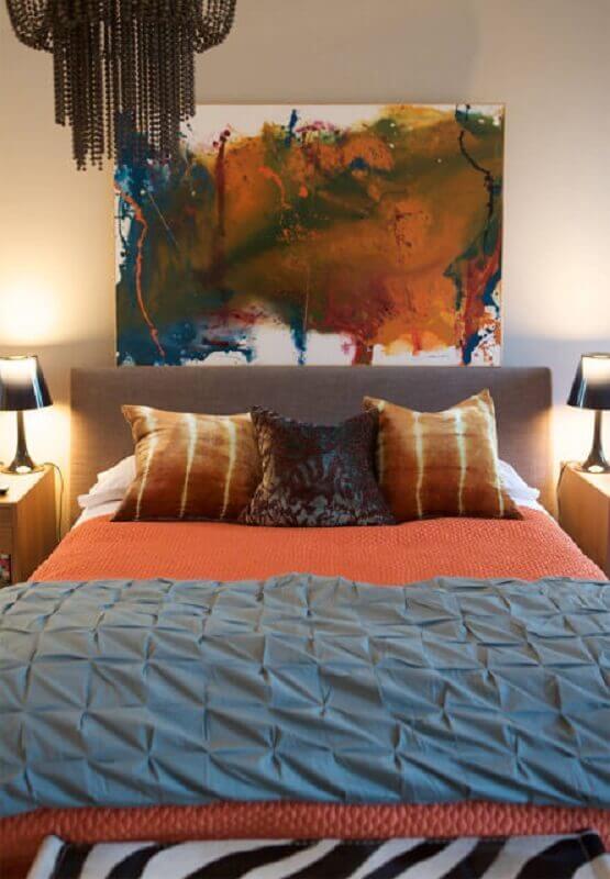 quadro abstrato colorido para decoração de quarto de casal Foto Webcomunica