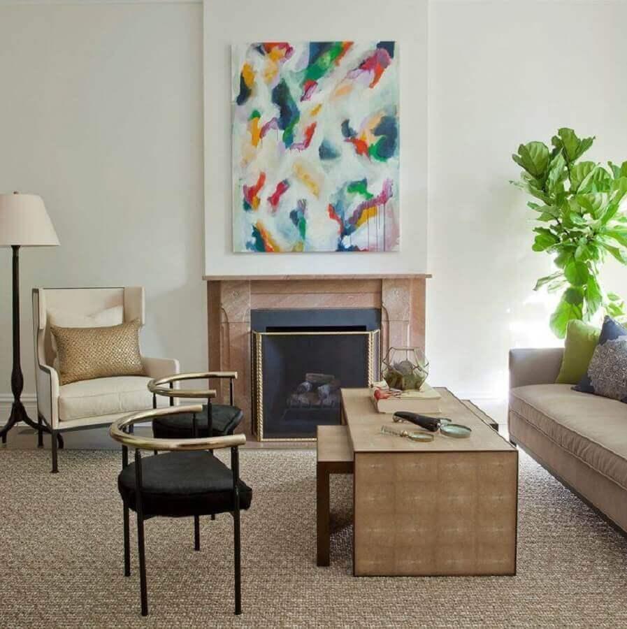 quadro abstrato colorido para decoração de sala clássica com lareira Foto Webcomunica