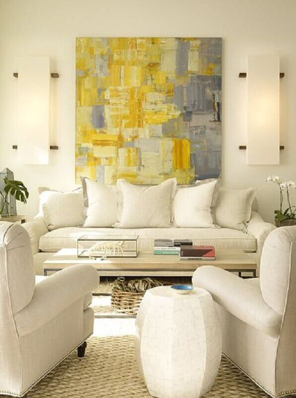 quadro abstrato grande para sala toda branca decorada Foto Pinterest