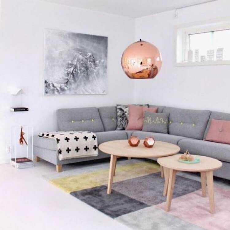 quadro abstrato para decoração de sala cinza e rosa Foto Pinterest