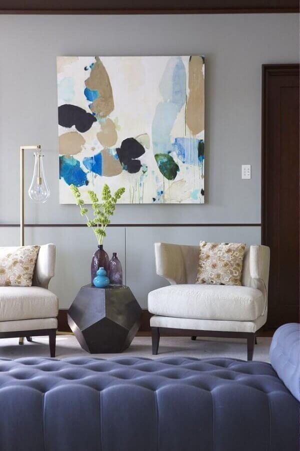 quadro abstrato para decoração de sala de estar azul e cinza Foto My Desired Home