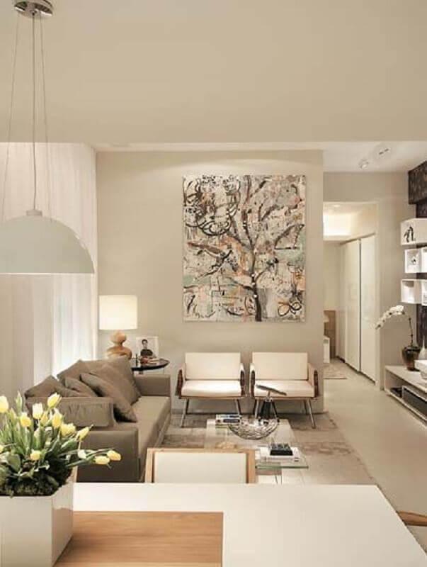 quadro abstrato para decoração de sala sofisticada em cores neutras Foto Só Decor