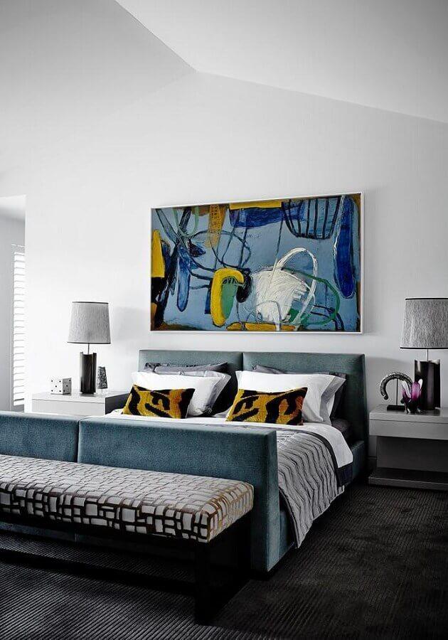 quadros abstratos coloridos para decoração de quarto de casal amplo Foto Deavita