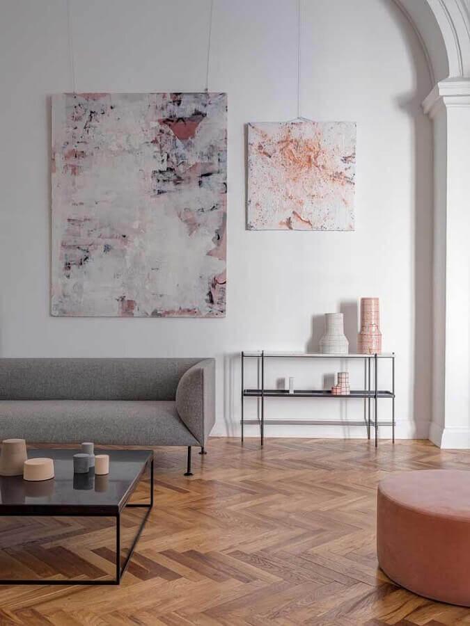 quadros decorativos abstratos para decoração de sala moderna Foto Ideias Decor