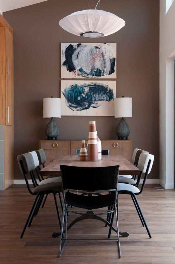 quadros decorativos abstratos para sala de jantar em tons de marrom Foto Houzz