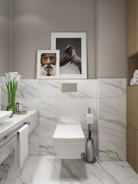 Quadros para banheiro clean em mármore