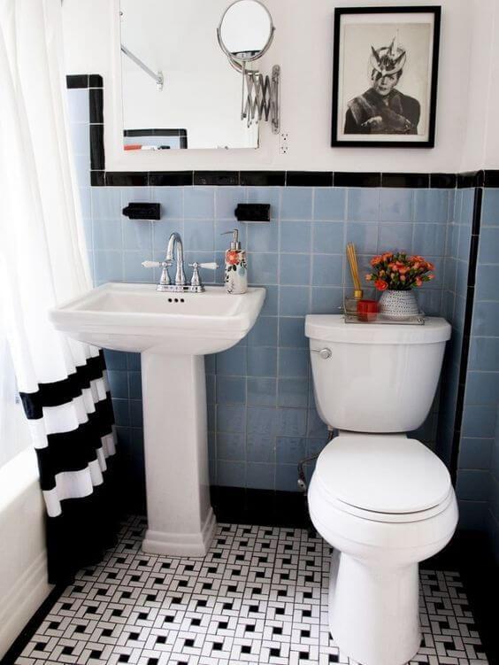 Quadros para banheiro vintage em azul e preto