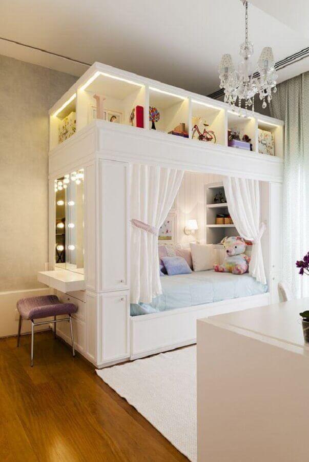 quarto de menina planejado com cama casinha Foto Pinterest
