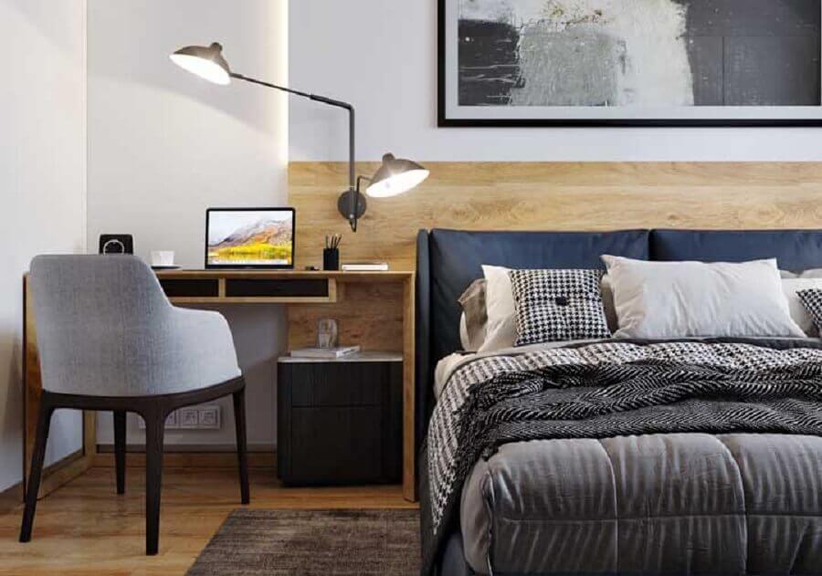 quarto decorado com escrivaninha de madeira para cantinho de estudo Foto Pinterest