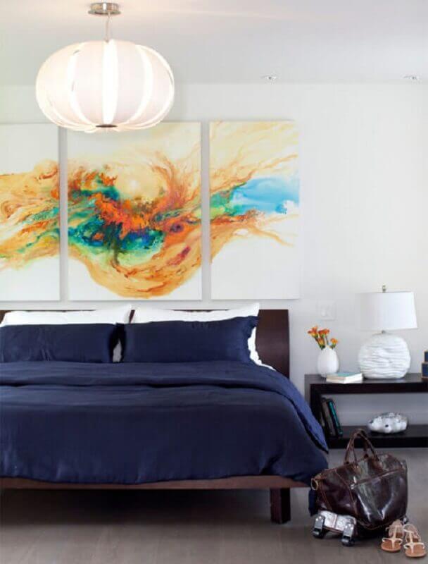 quarto decorado com quadros decorativos abstratos Foto Pinterest