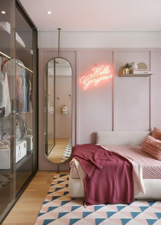 Revestimento par quarto moderno com iluminação de led