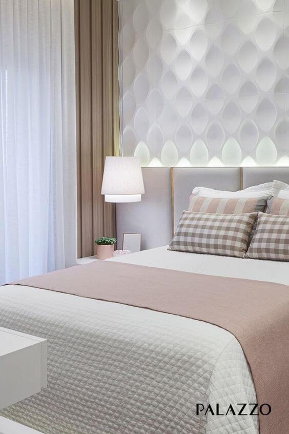 Revestimento 3d para quarto moderno