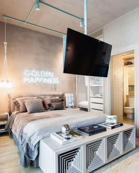 Revestimento para quarto com luminária de led